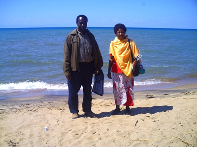 Nixon Issangya with his wife at the beach